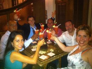 Singapore Sling at the Raffles Hotel with my team: Sabrina, Benjamin, Mostafa, Jocelin, Jorge Alberto Ramirez