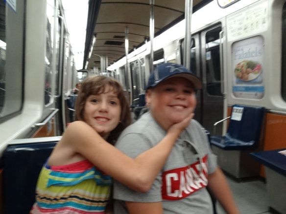 Emilie and Ben in the metro heading towards Place D'Armes.