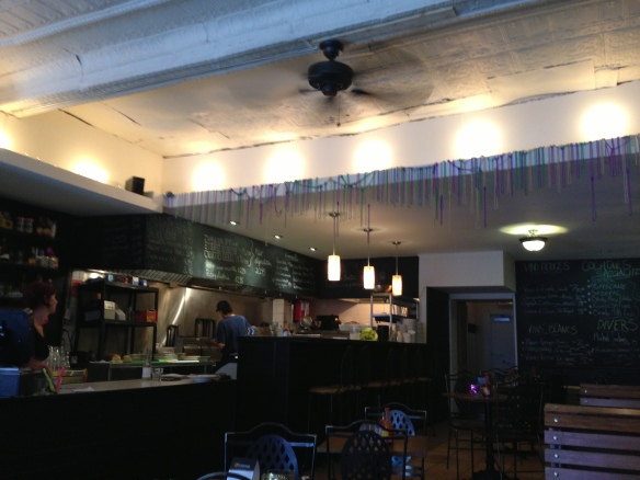A nice Open kitchen, friendly staff and NOLA beads everywhere make this a magical place to visit