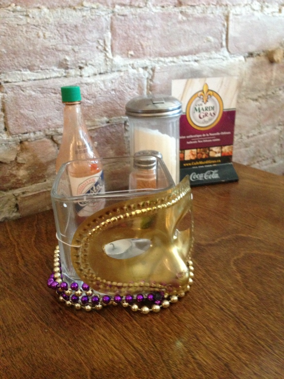 Mardi Gras Mask and Beads as a Center Piece
