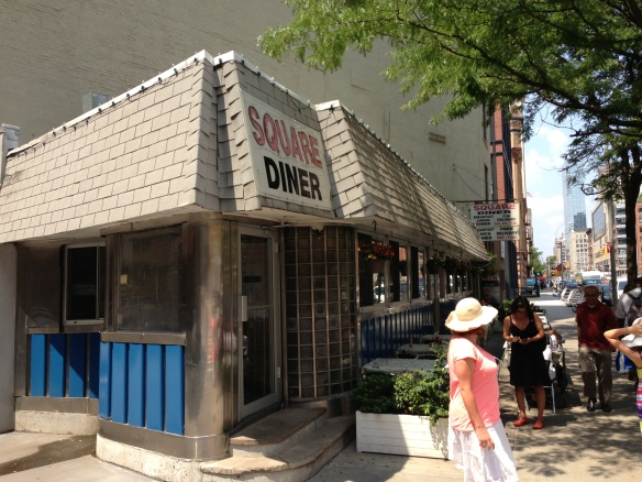 The Square Diner, air conditioned, good service and affordable. A NY rarity.