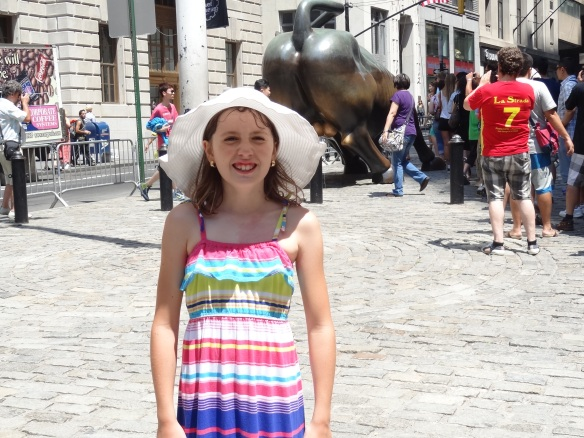 The bull for financial fortune accompanied by the great shop girl herself